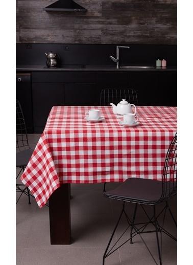 Eponj Home Masa Örtüsü(160x160) + 10lu Mutfak Peçetesi Seti Kırmızı Kırmızı